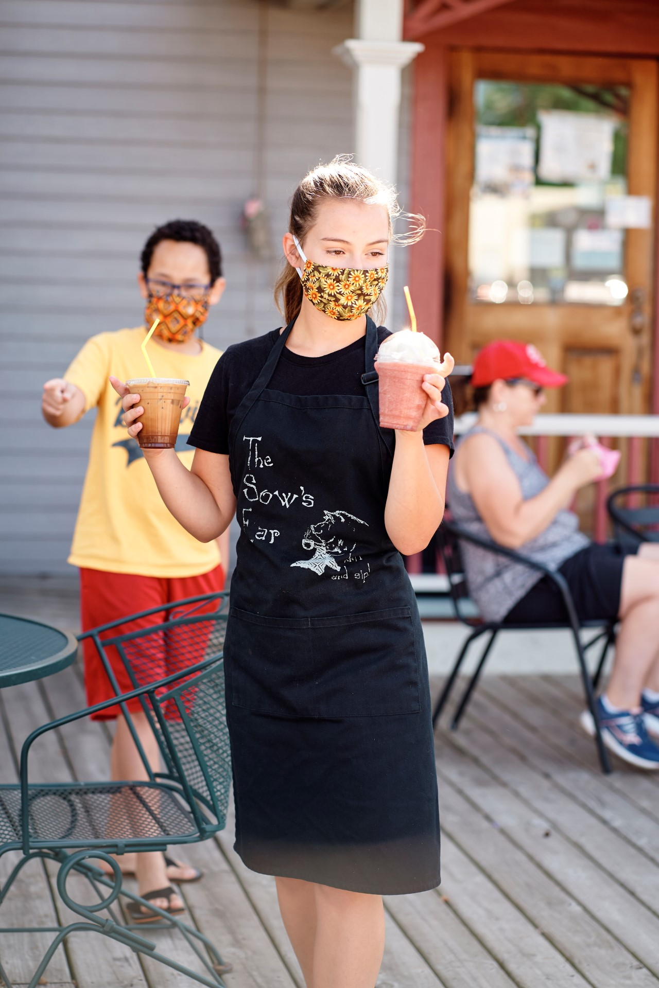 Serving Drinks in Mask